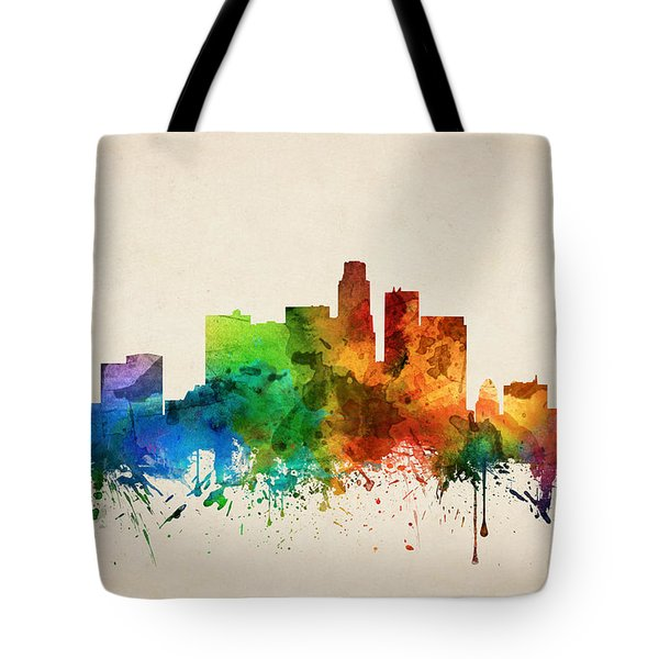 Los Angeles California Skyline 05 Tote Bag by Aged Pixel