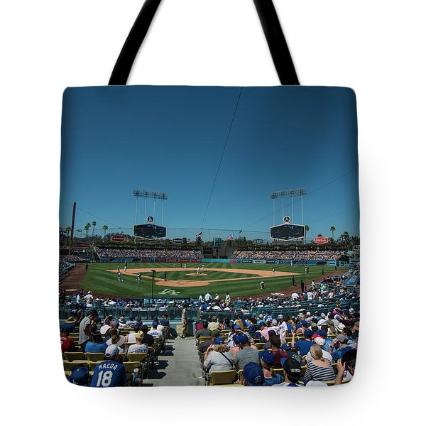 Tote Bag featuring the photograph Los Angeles Dodgers Dodgers Stadium Baseball 2110 by David Haskett