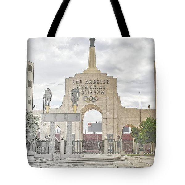 Tote Bag featuring the digital art Los Angeles Memorial Coliseum  by Anthony Murphy