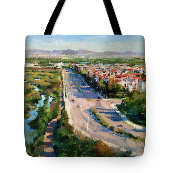 Los Angeles - Playa Vista From South Bluff Trail Road Tote Bag by Peter Salwen