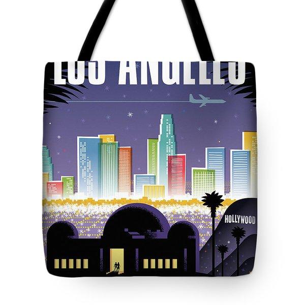 Los Angeles Retro Travel Poster Tote Bag by Jim Zahniser