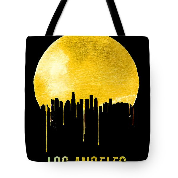 Los Angeles Skyline Yellow Tote Bag by Naxart Studio