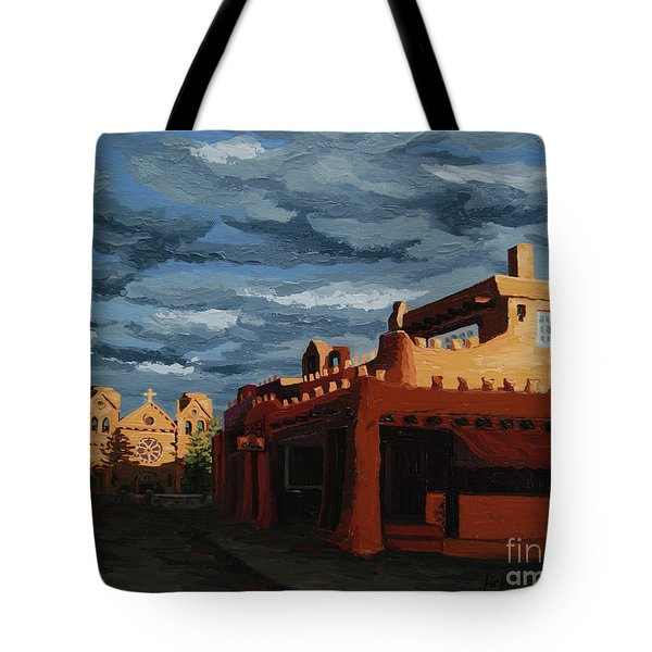 Tote Bag featuring the painting Los Farolitos,the Lanterns, Santa Fe, Nm by Erin Fickert-Rowland