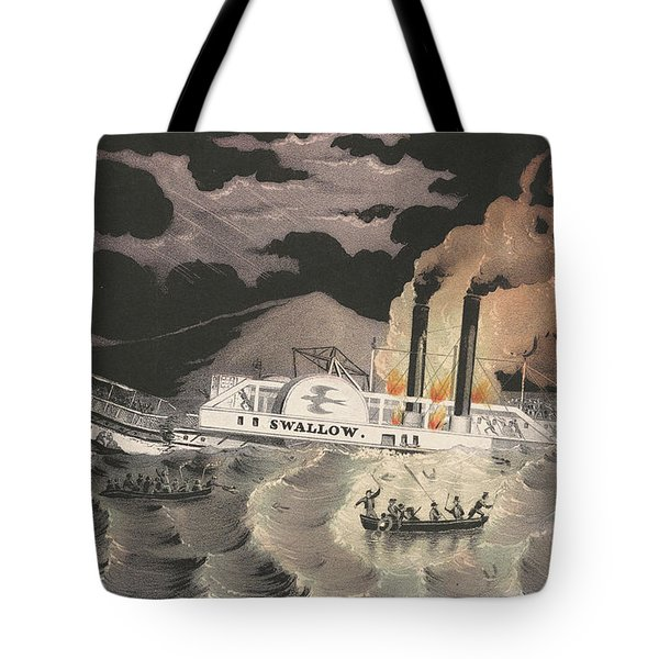 Loss Of The Steamboat Swallow, While On Her Trip From Albany To New York, 1845 Tote Bag