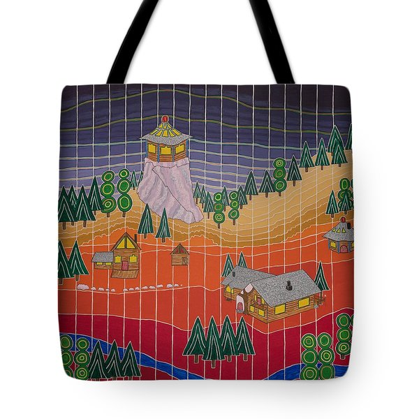 Lost Creek Lodge With Sun Temple Tote Bag