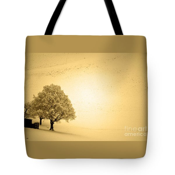 Tote Bag featuring the photograph Lost In Snow - Winter In Switzerland by Susanne Van Hulst