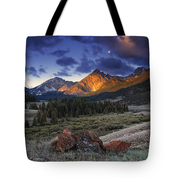 Lost River Mountains Moon Tote Bag by Leland D Howard