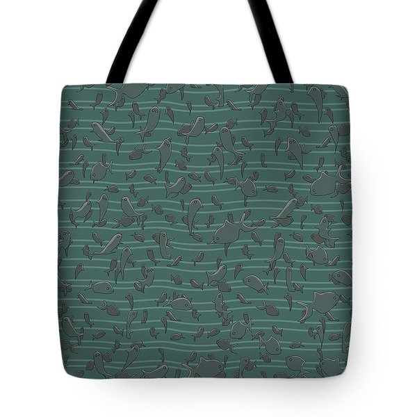Tote Bag featuring the digital art Lots Of Fish by April Burton