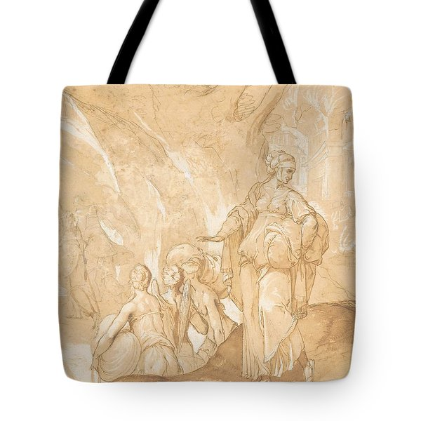 Lot's Wife Looking Back At The Destruction Of Sodom And Gomorrah  Tote Bag