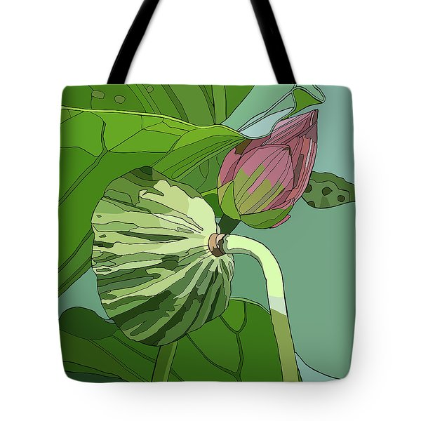Lotus And Bud Tote Bag by Jamie Downs