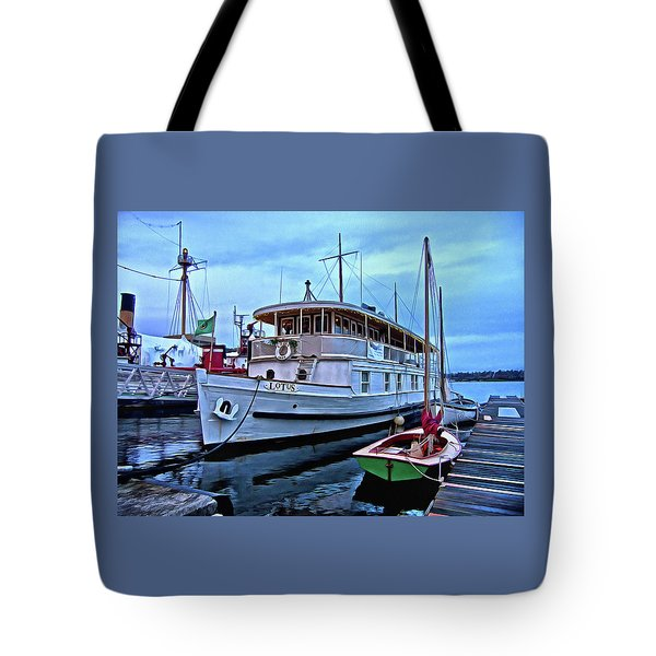 Tote Bag featuring the photograph Lotus And The Dinghies by Thom Zehrfeld