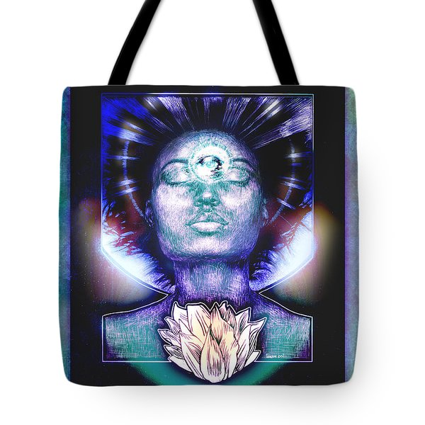 Tote Bag featuring the painting Lotus Bloom by Ragen Mendenhall