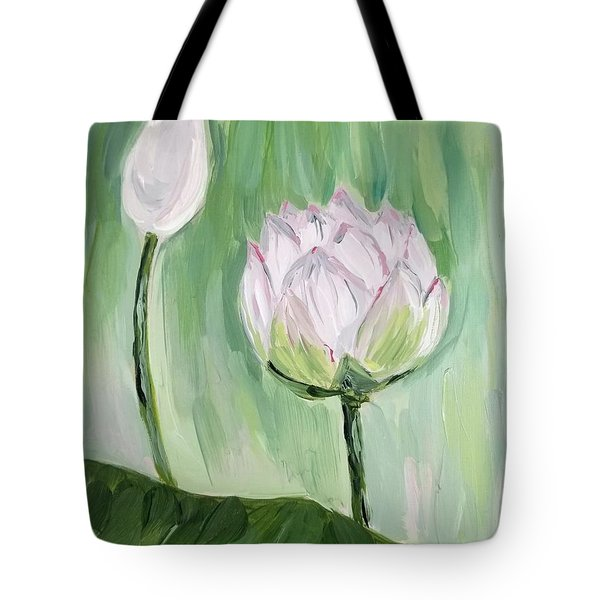 Tote Bag featuring the painting Lotus Emerging by Maria Langgle
