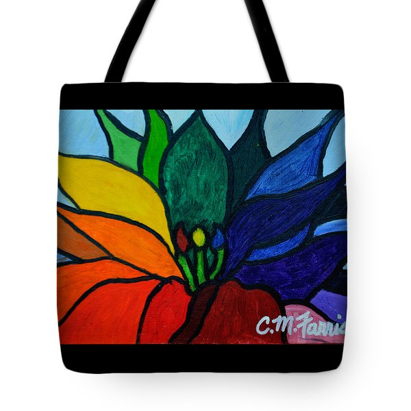 Tote Bag featuring the painting Lotus Flower 1 by Christopher  M Farris