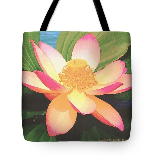 Tote Bag featuring the painting Lotus Flower by Sophia Schmierer