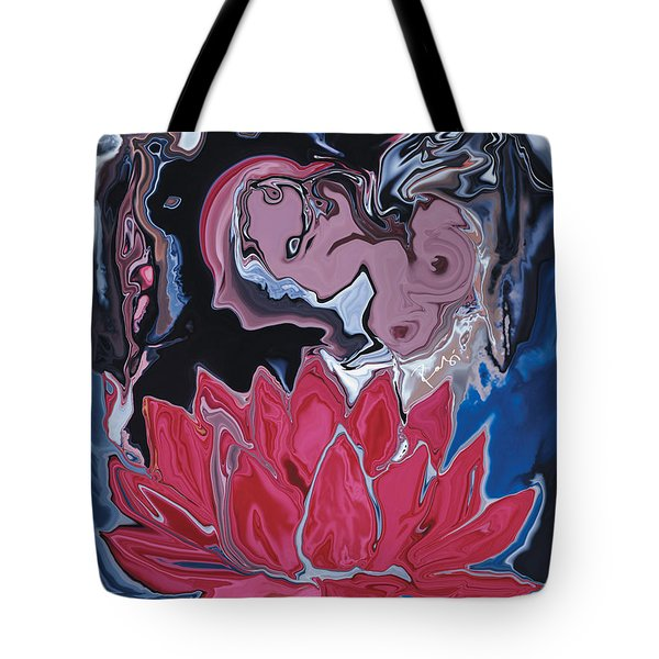 Tote Bag featuring the digital art Lotus Love by Rabi Khan
