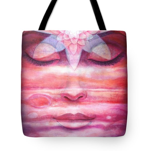 Tote Bag featuring the painting Lotus Meditation, Jupiter Clouds by Sue Halstenberg