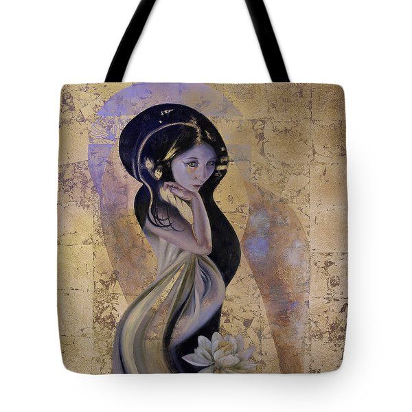 Tote Bag featuring the painting Lotus by Ragen Mendenhall