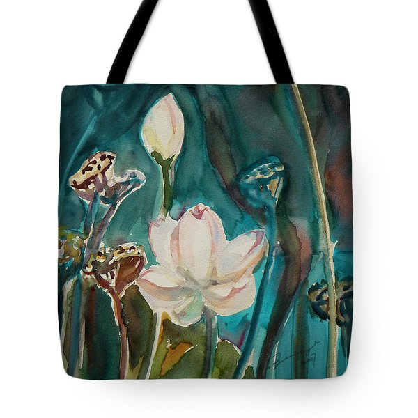 Tote Bag featuring the painting Lotus Study I by Xueling Zou