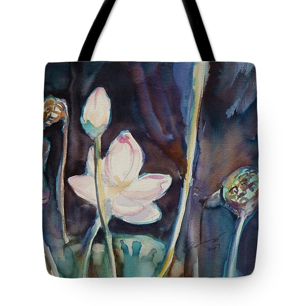 Tote Bag featuring the painting Lotus Study II by Xueling Zou