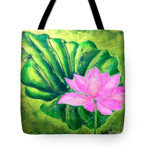 Tote Bag featuring the painting Lotus by Sylvie Leandre