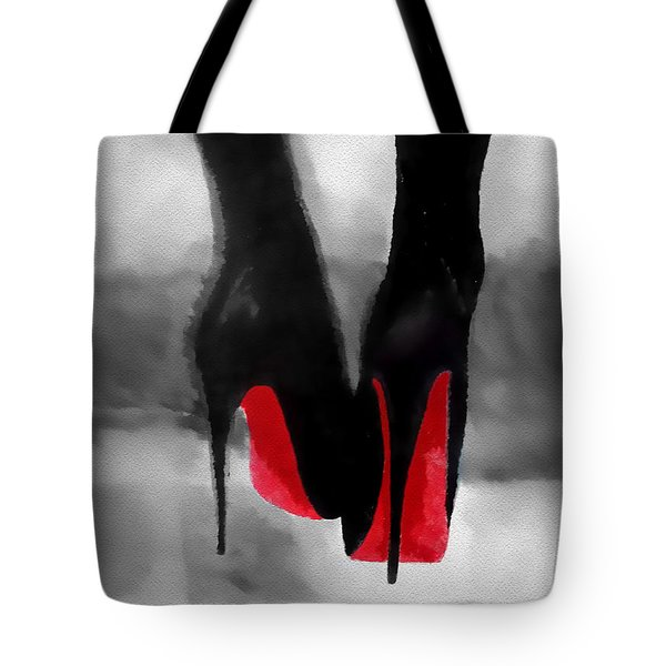 Louboutin At Midnight Black And White Tote Bag by Rebecca Jenkins
