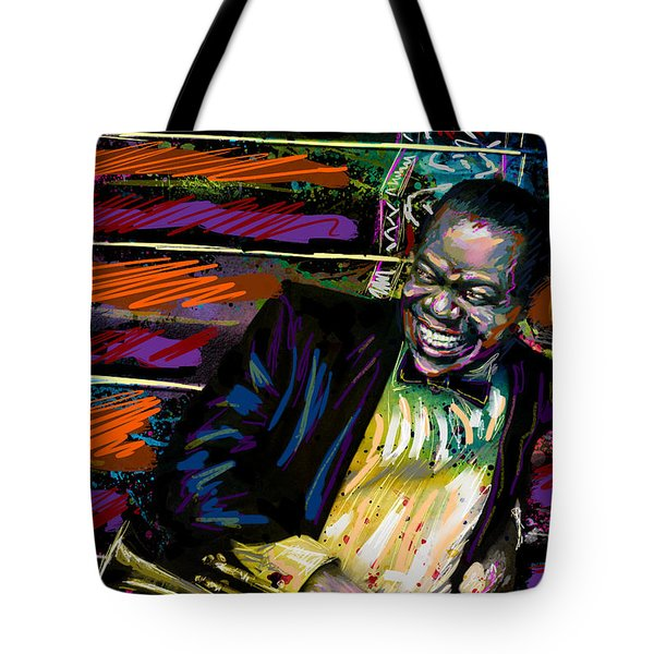 Louis Armstrong Art, Jazz Painting Tote Bag