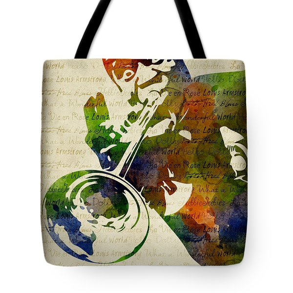 Louis Armstrong Watercolor Tote Bag