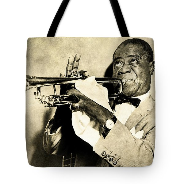 Tote Bag featuring the digital art Louis Satchmo Armstrong by Anthony Murphy
