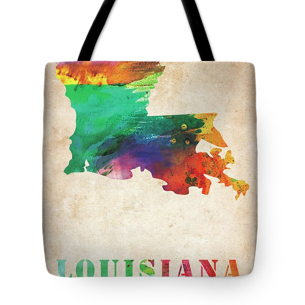 Louisiana Colorful Watercolor Map Tote Bag