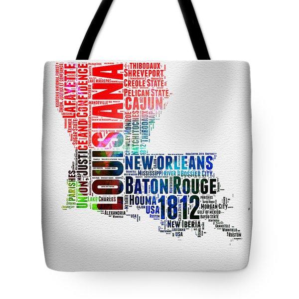 Louisiana Watercolor Word Cloud Map  Tote Bag