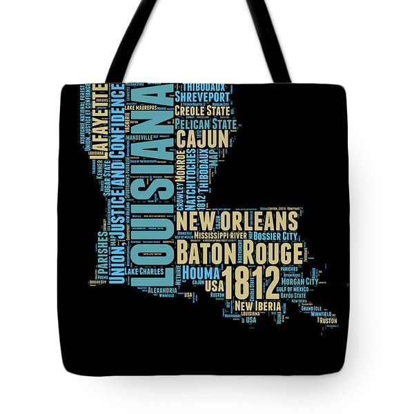 Louisiana Word Cloud Map 1 Tote Bag