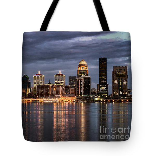 Tote Bag featuring the photograph Louisville At Dusk by Andrea Silies