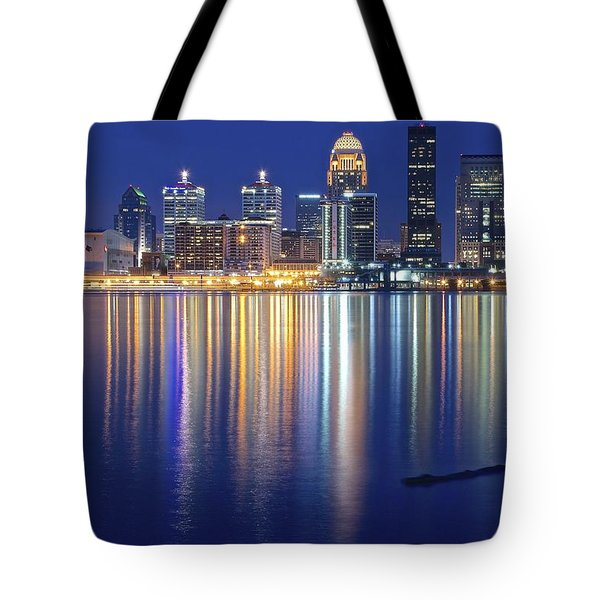 Louisville During Blue Hour Tote Bag by Frozen in Time Fine Art Photography