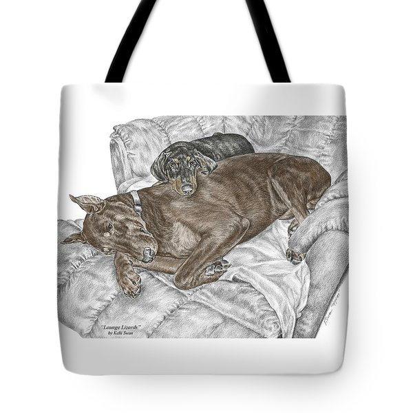 Lounge Lizards - Doberman Pinscher Puppy Print Color Tinted Tote Bag