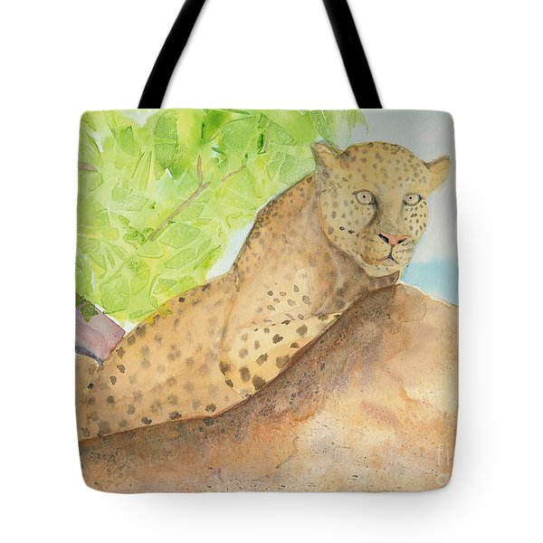 Tote Bag featuring the painting Lounging Leopard by Vicki  Housel