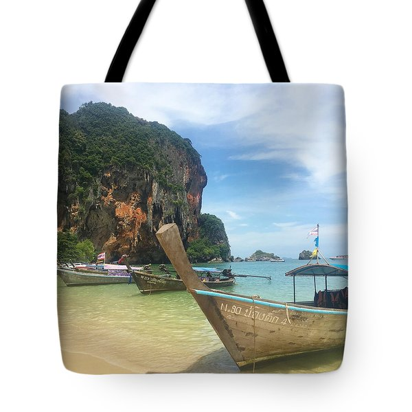 Lounging Longboats Tote Bag by Ell Wills