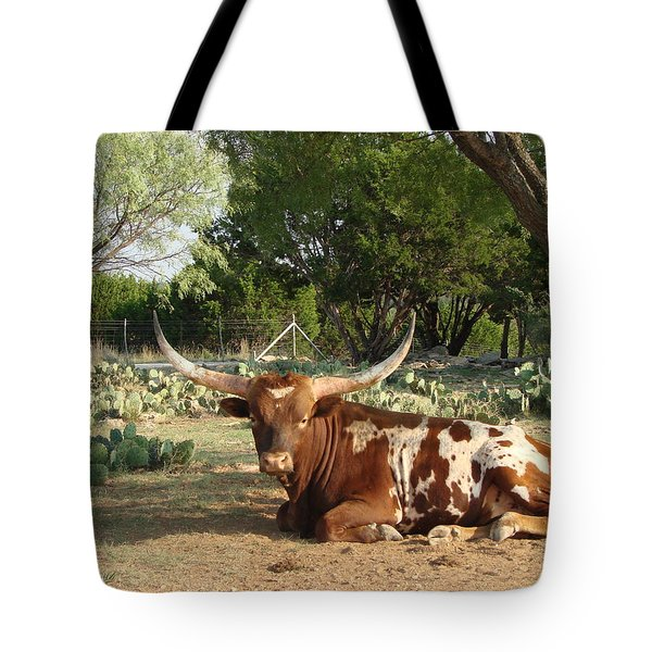 Lounging Longhorn Tote Bag by Linda Cox