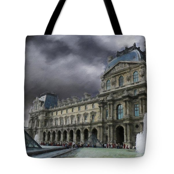 Tote Bag featuring the mixed media Louvre by Jim  Hatch