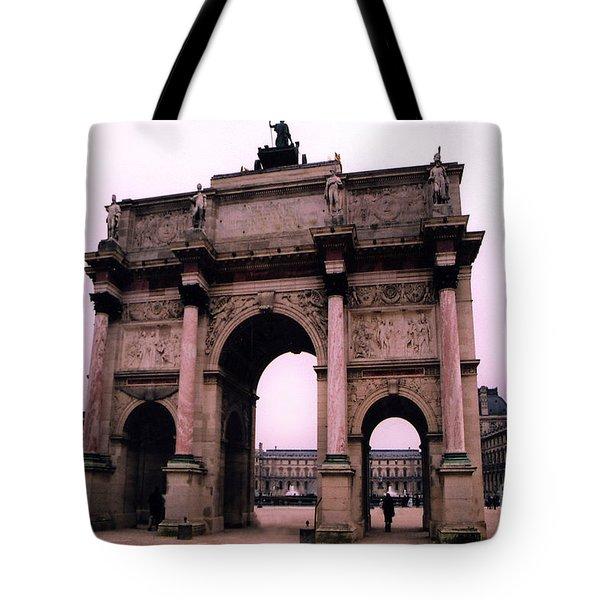 Tote Bag featuring the photograph Louvre Museum Entrance Courtyard Arc De Triomphe Arch Landmark - Paris Louvre Museum Architecture by Kathy Fornal