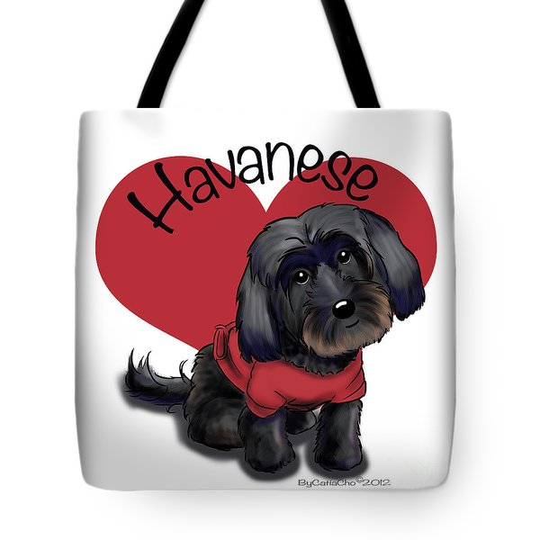 Lovable Black Havanese Tote Bag by Catia Cho