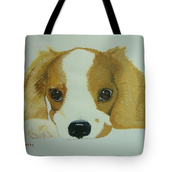 Tote Bag featuring the painting Lovable Puppy by Norm Starks