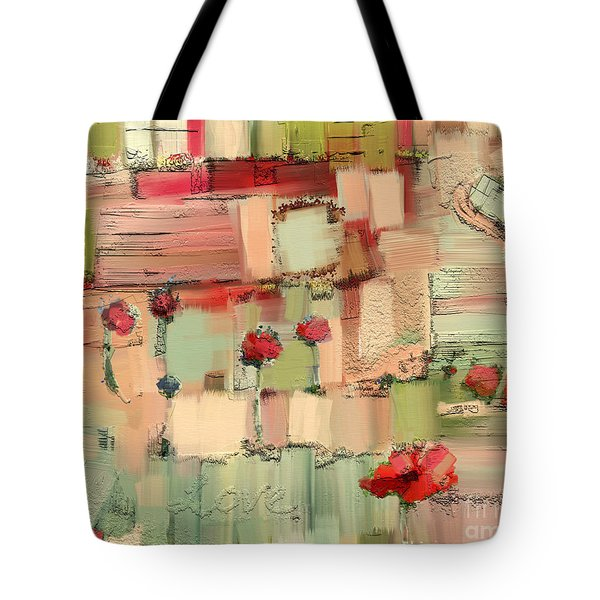 Tote Bag featuring the mixed media Love Abstract by Carrie Joy Byrnes