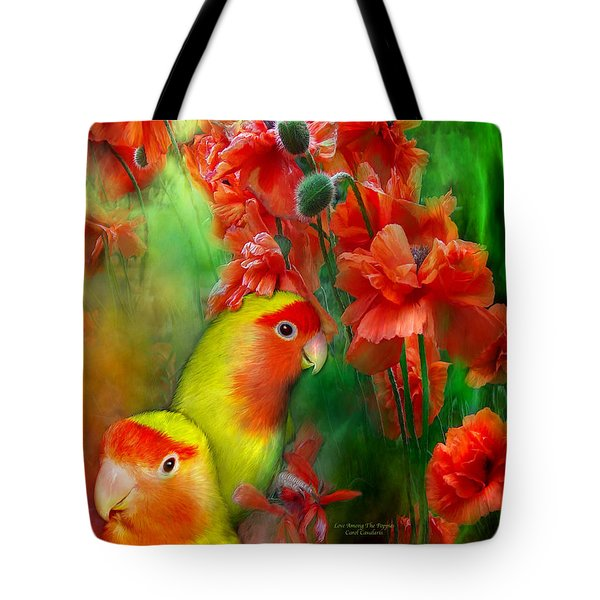 Love Among The Poppies Tote Bag by Carol Cavalaris
