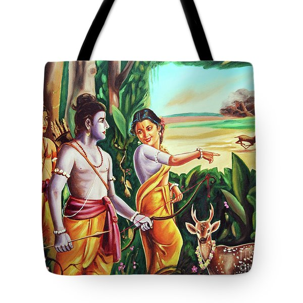 Love And Valour- Ramayana- The Divine Saga Tote Bag by Ragunath Venkatraman