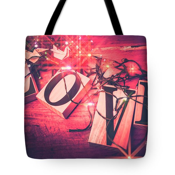 Love Birds And Wooden Sentiments Tote Bag