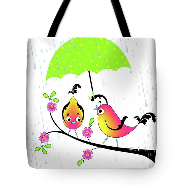 Love Birds In Rain Tote Bag