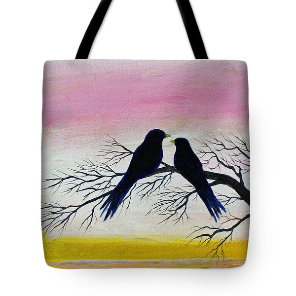 Tote Bag featuring the painting Love Birds by Jack G  Brauer