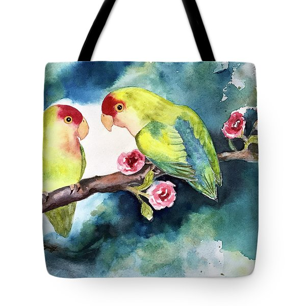 Love Birds On Branch Tote Bag