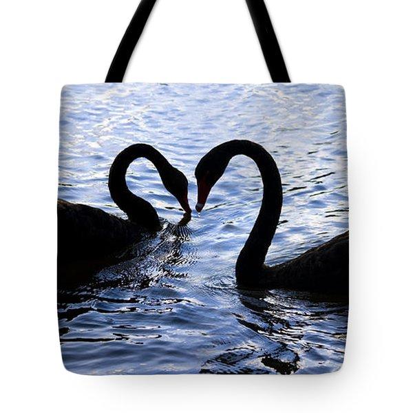 Love Birds On Swan Lake Tote Bag